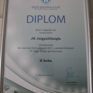 JK Jalgpallihaigla diplom 2012