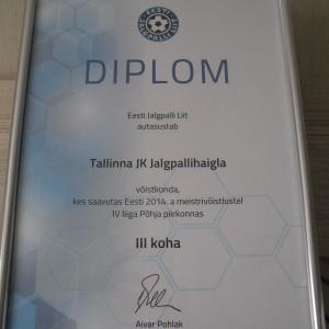 JK Jalgpallihaigla diplom 2014